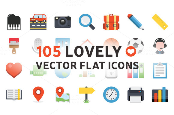 105 LOVELY VECTOR FLAT ICONS