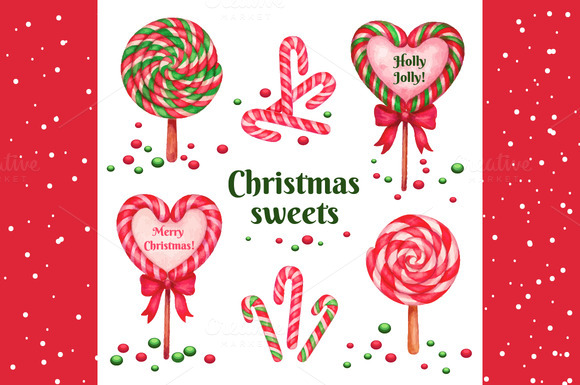Christams Sweets Watercolor Vector
