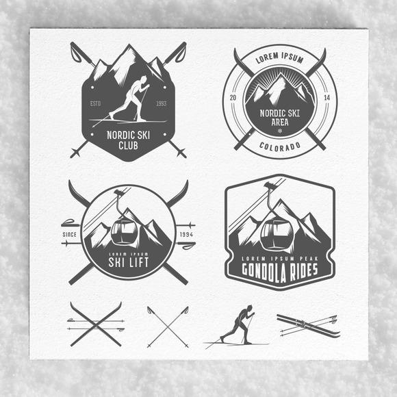Large Winter Ski Labels Set