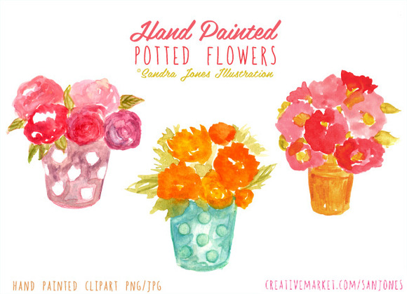Watercolor Potted Flowers