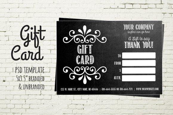Gift Card Template Chalkboard Card