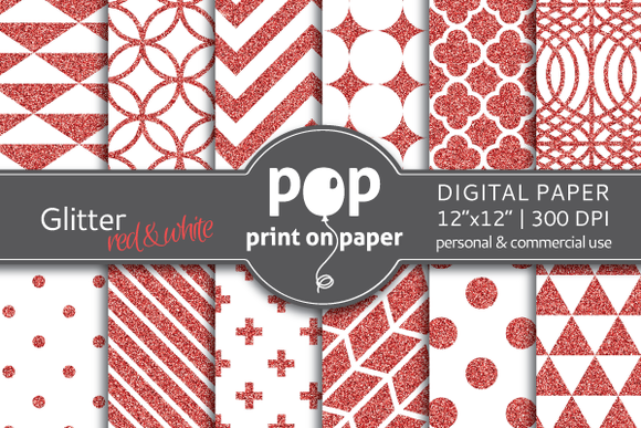 Glitter Red White Digital Paper
