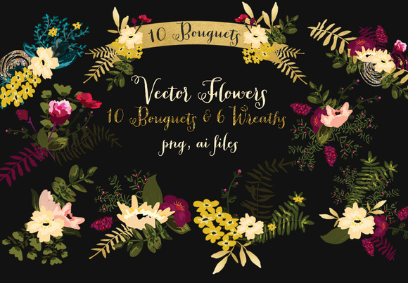 Vector Bouquets And Wreaths