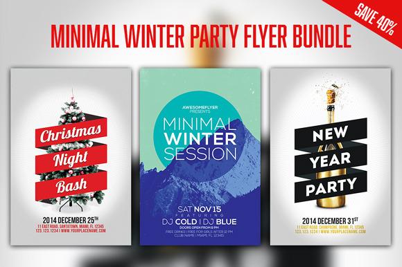 Minimal Winter Party Flyer Bundle