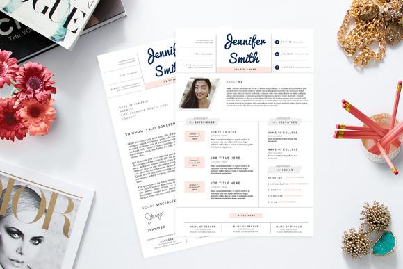 Feminine Resume CV Template Pkg