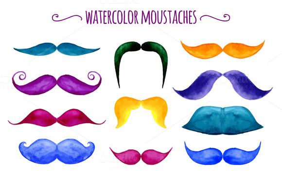 Watercolor Vector Moustaches