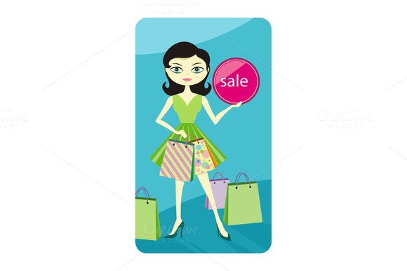 Shopping Sale Girl Showing Shopping
