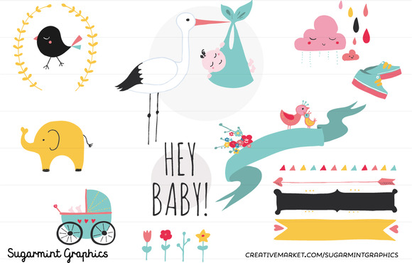 Baby Shower Clip Art Cute Kawai