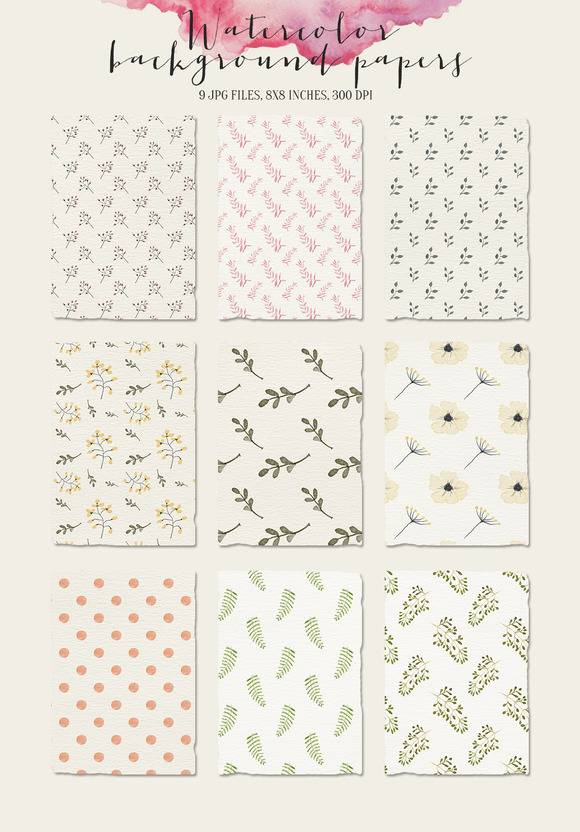 Watercolor Background Pattern Papers