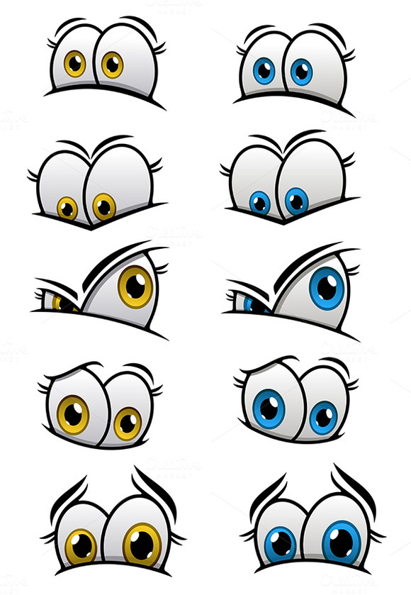 Cartooned Eyes With Emotions