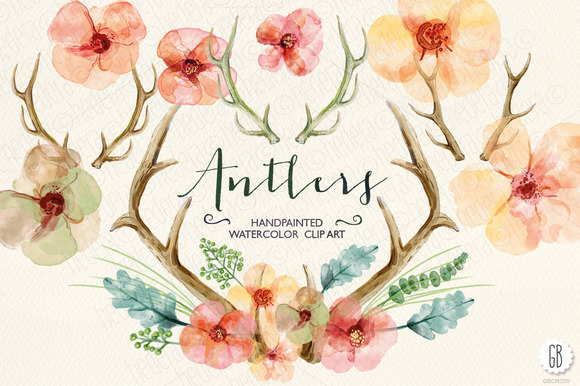 Watercolor Flowers Deer Antlers