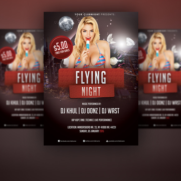 Flying Night Flyer PSD Template