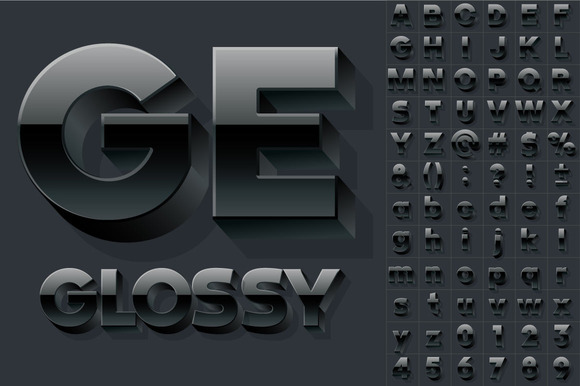 Vector Alphabet Of 3D Glossy Letters