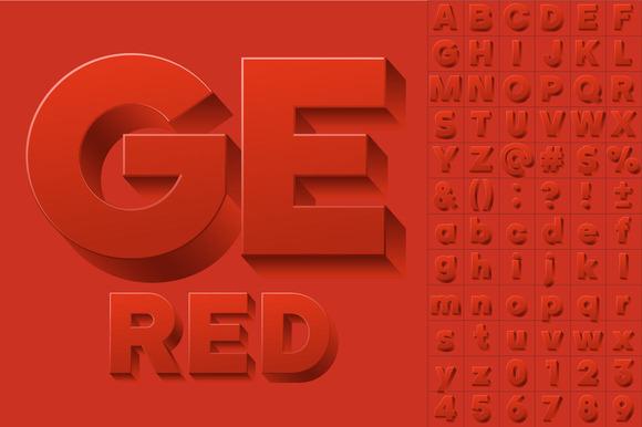 Vector Alphabet Of Simple 3D Letters