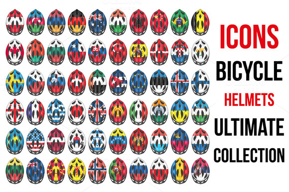 60 Bicycle Helmets Icons With Flags