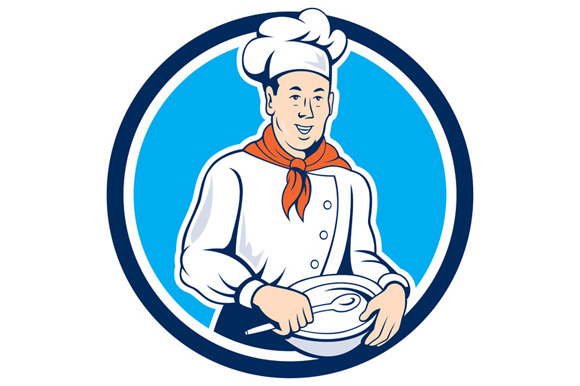 Chef Cook Holding Spoon Bowl Circle