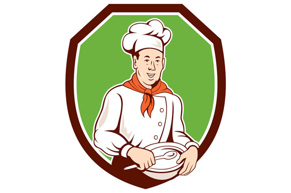 Chef Cook Holding Spoon Bowl Shield
