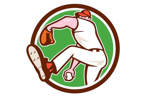 Baseball Pitcher Throwing Ball Cir