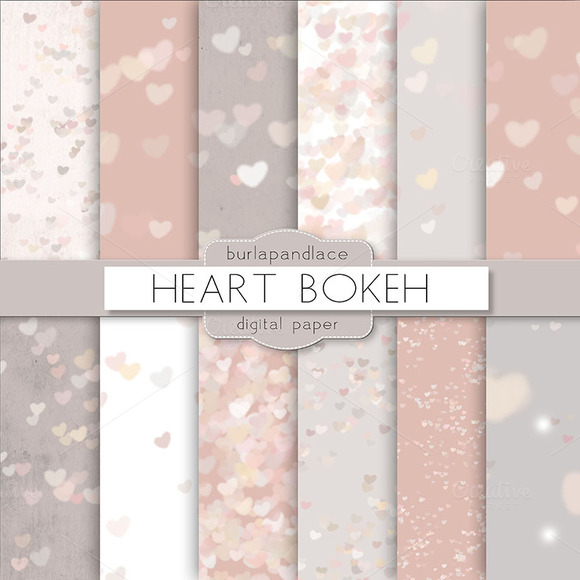 Heart Bokeh Digital Paper