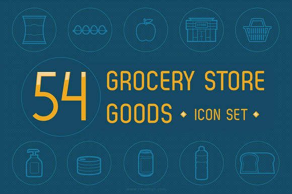 54 Grocery Store Goods Icon Set