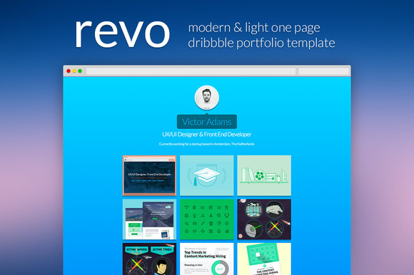 Revo One Page Dribbble Portfolio