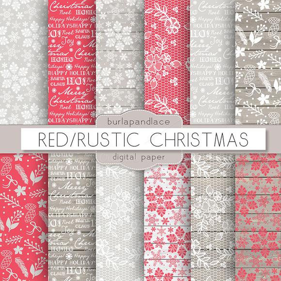 Red Rustic Christmas Digital Paper