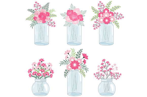 Pink Flowers In Mason Jars