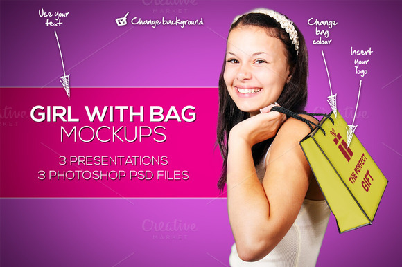 Girl With Bag And Logo Mockups