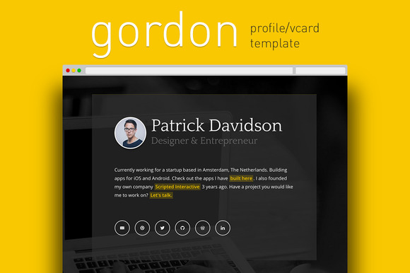 Gordon Profile Vcard Template