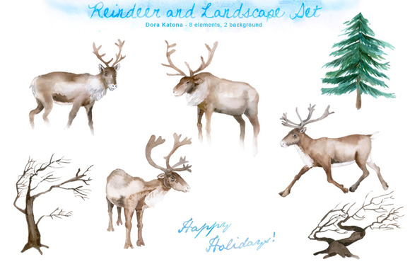 Watercolor Reindeer Christmas Set