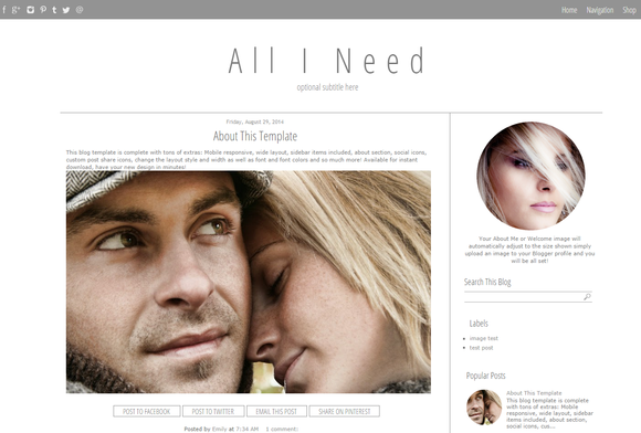 Blogger Template Simple Grey