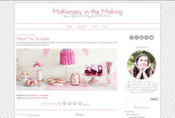 Blogger Template Pink Grey Chevron