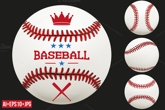 Set Of Baseball Ball Vector JPEG