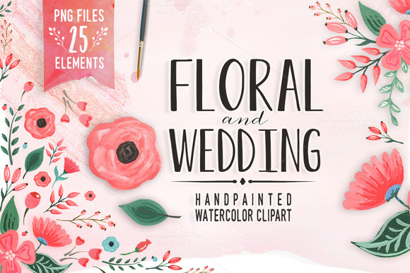 Floral And Wedding Watecolor Clipart