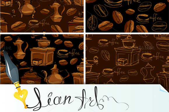 4 Seamless Patterns With Coffee