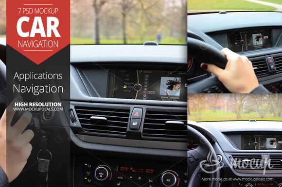 7 PSD Car Navigation Mockup