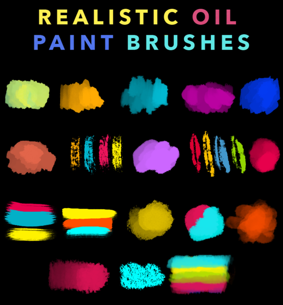 REALISTIC OIL PAINT BRUSHES