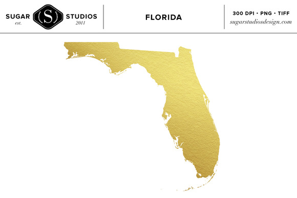 Florida State Gold Foil Clip Art