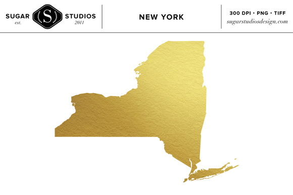 New York State Gold Foil Clip Art