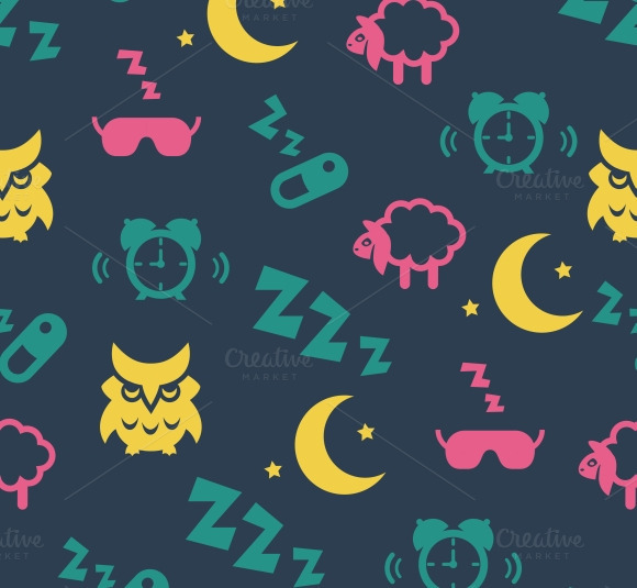 Sleep Time Seamless Pattern