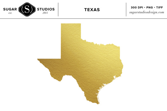 Texas State Gold Foil Clip Art