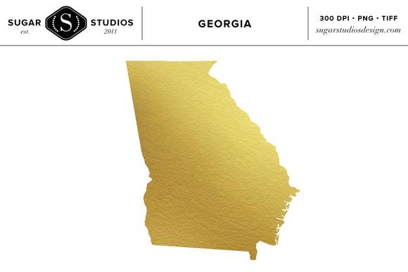 Georgia State Gold Foil Clip Art