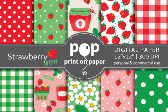 Strawberry Green Digital Paper