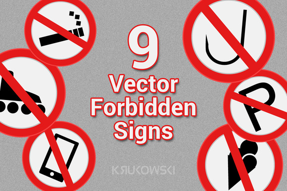 Forbidden Signs Vectors