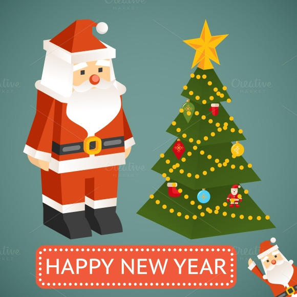 Vector Santa Claus Christmas Tree