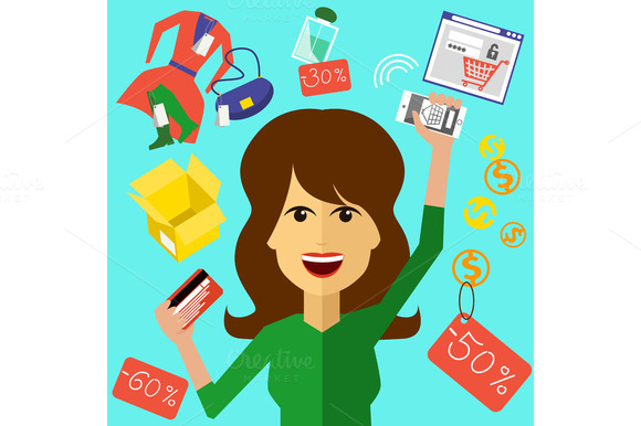 Set Appy Woman With A Card And Phone