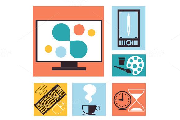 Set Of Colorful Graphic Web Design