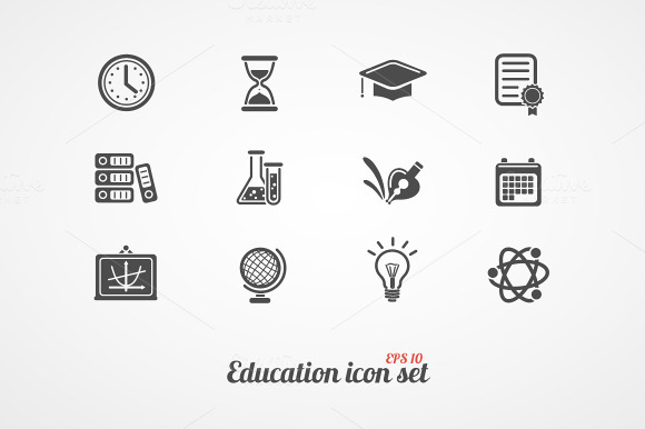 Education Icons Set Black On White