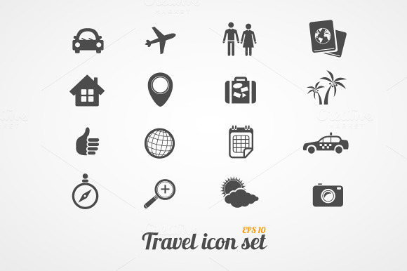 Travel Icons Set Black White