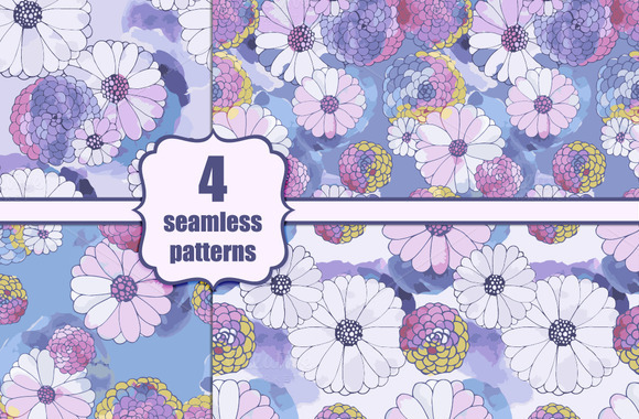 4 Daisy Seamless Patterns